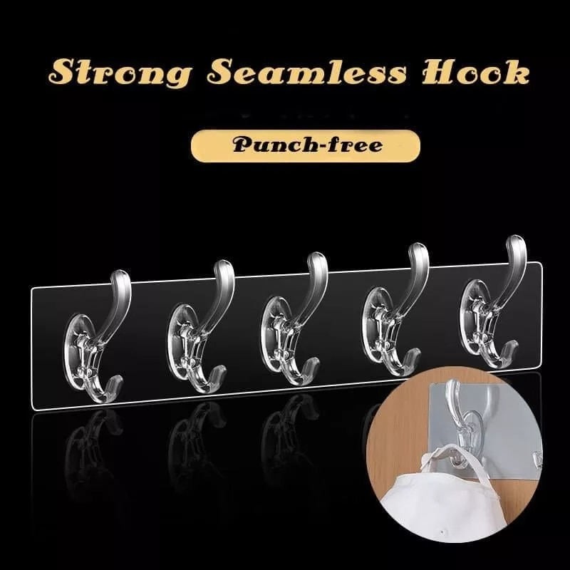 Transparent Strong Sticking Hook Non-marking Adhesive Door Wall Hangers Hooks Kitchen Storage Tools Bathroom Hanging Stickers