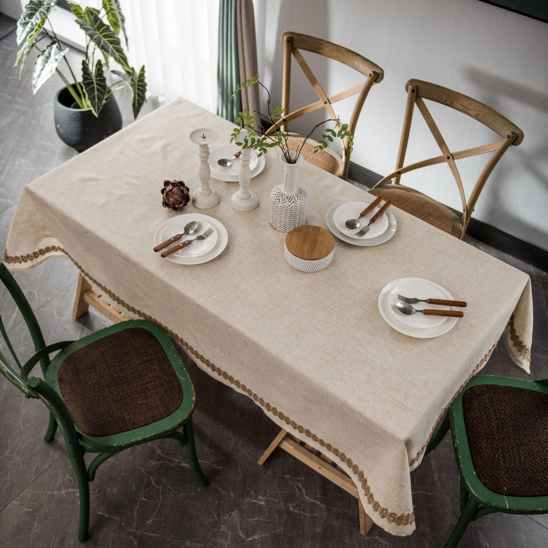 Mantel de lino y poliéster para mesa de café y té, cubierta...