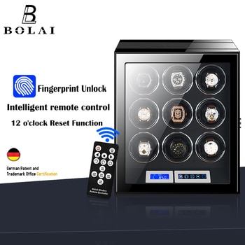 Fingerprint Unlock 9 Slot Watch Winder Luxury Brand Automatic Watch Box with LCD Touch Screen Wooden Watches Storage Safe Box