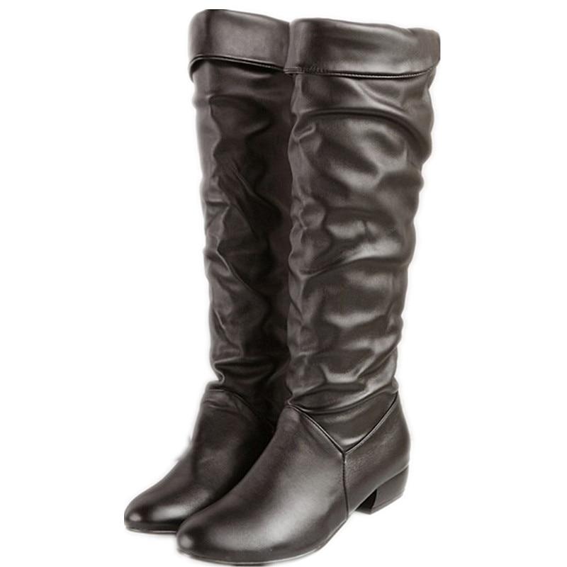 Plus size 34-43 fashion new arrival Winter Mid-Calf Women Boots Black White Brown flats heels half boots autumn Snow shoes yuj7