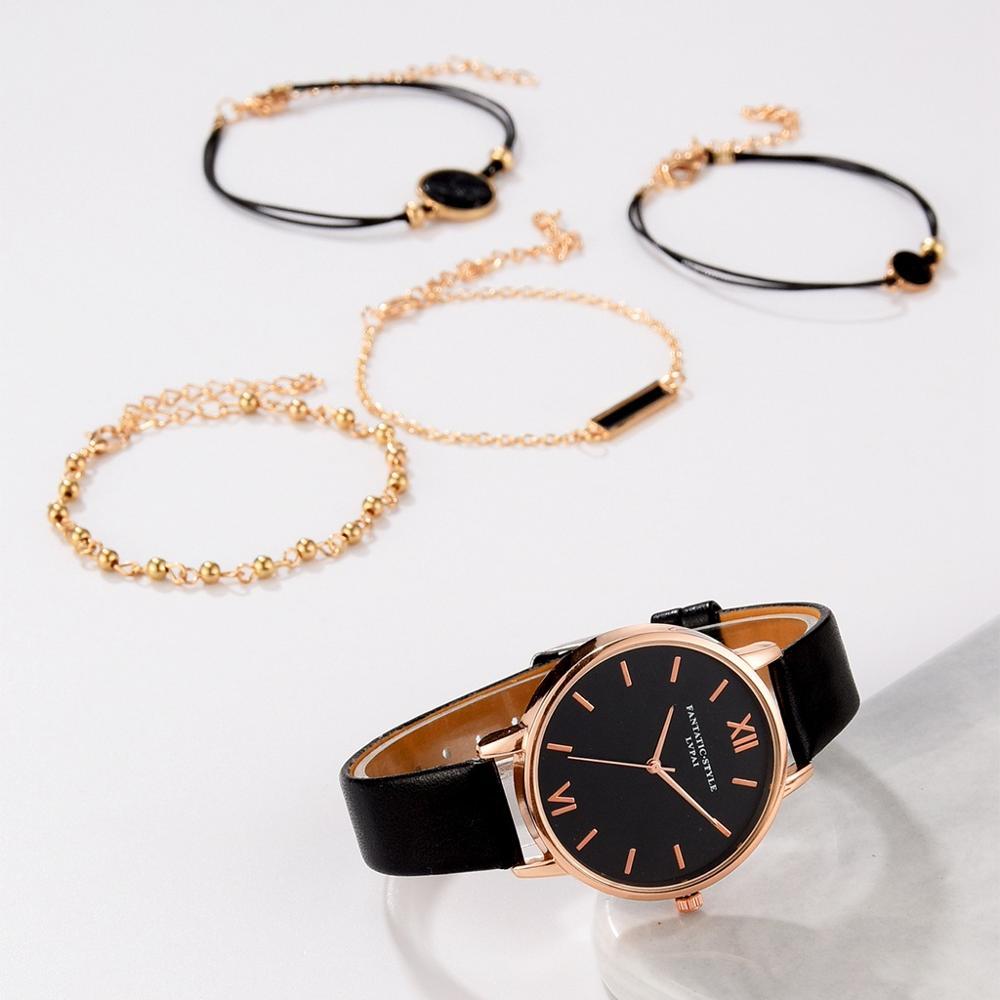 5pcs Set Top Style Fashion Women's Luxury Leather Band Analog Quartz WristWatch Ladies Watch Women Dress Reloj Mujer Black Clock enlarge