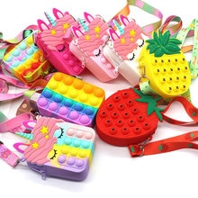 Moda Fidget giocattoli Push bolle giocattolo arcobaleno unicorno portamonete portafoglio borsa da donna silice semplice fossetta borse a tracolla per ragazze