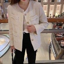 Fashion New Single Breasted O-Neck Womens Tweed Jackets Korean Pockets Slim Streetwear Female Outerwear Coats Jaqueta Feminina