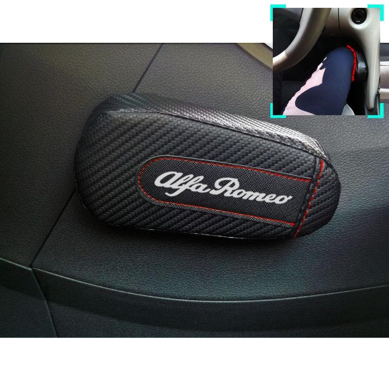 Para Alfa Romeo 159 147 156 Giulietta 147 159 Mito 1 pieza de cuero de fibra de carbono cojín de pierna almohadilla de rodilla reposabrazos accesorios de coche