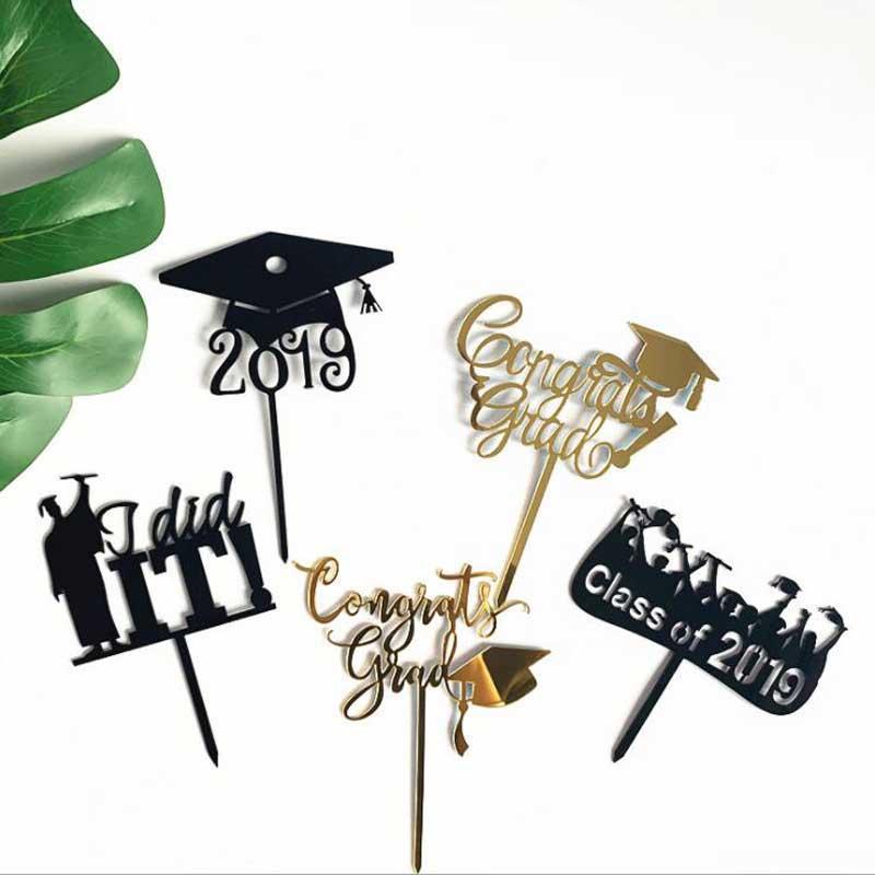 ¡Novedad de 2019! Tarjeta de embalaje de pastel acrílico para decoración de tartas de graduación, suministros para decoraciones de fiesta temáticas