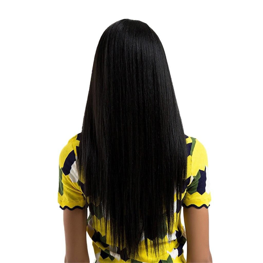 السيدات 26 ''أسود الاصطناعية الدانتيل الجبهة الباروكات مقاومة شعر مستعار كامل مستقيم الشعر
