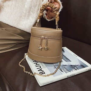 Fashionable new bucket bag chain bucket messenger bag simple portable women's bag handbags  fashionable purses