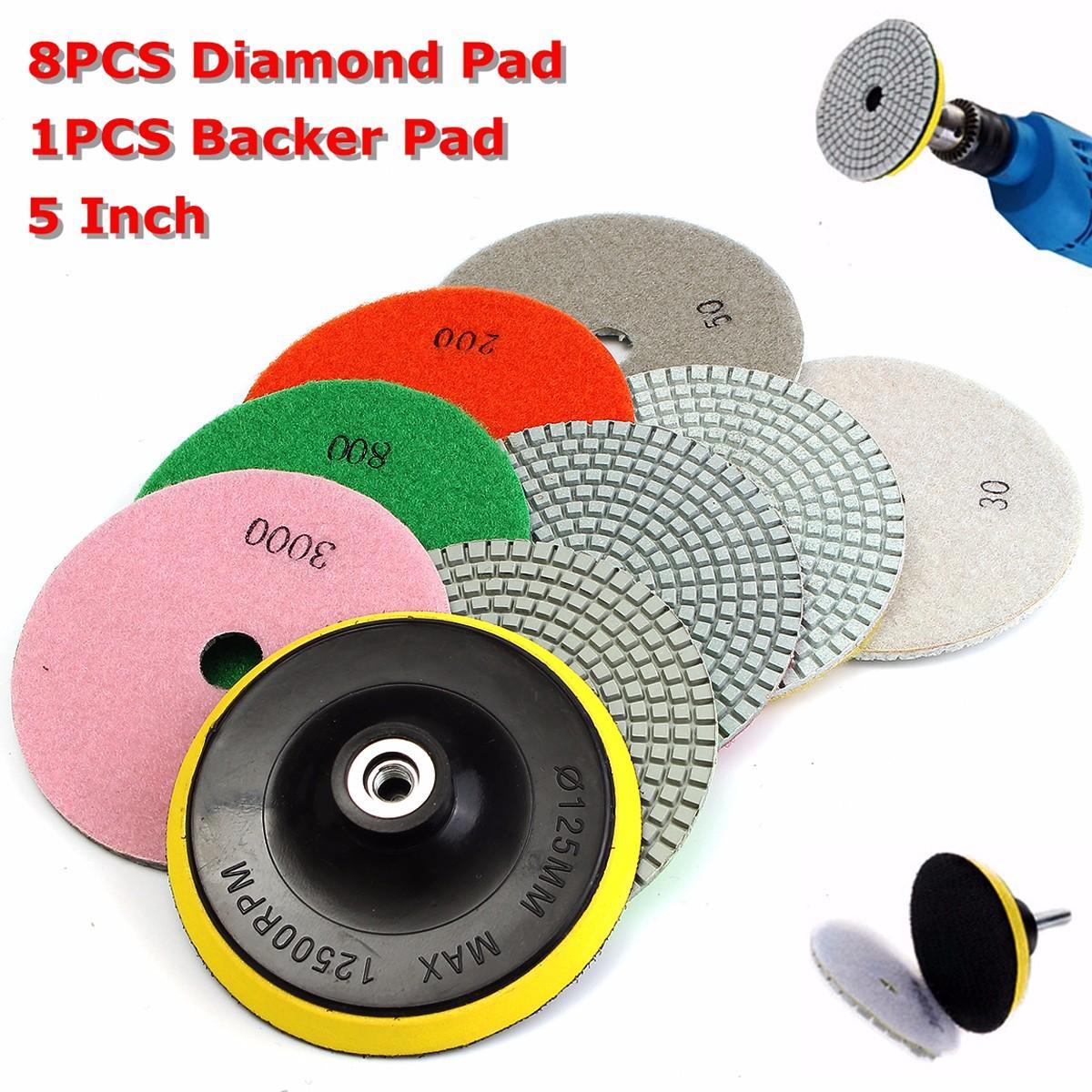 Polegada de Polimento Almofadas de Polimento de Diamante para Pedra de Granito 5 Molhado Mármore Concreto Usar Moagem Discos 30-3000 Grit 9 Pçs – Set Kit