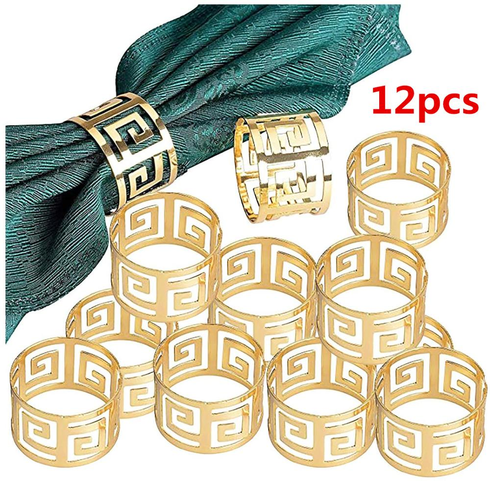 12pcs/lot European style napkin ring cloth napkin napkin buckle hollow pattern gold and silver napkin ring wedding decoration