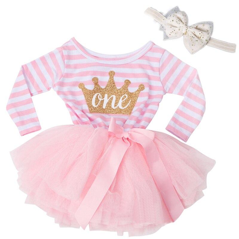 Winter Langarm Baby Streifen Kleid Neugeborenen Baby Kleider Für Mädchen Kinder Kleidung 1 2 3 Jahre Geburtstag Outfits Tutu prinzessin Rosa