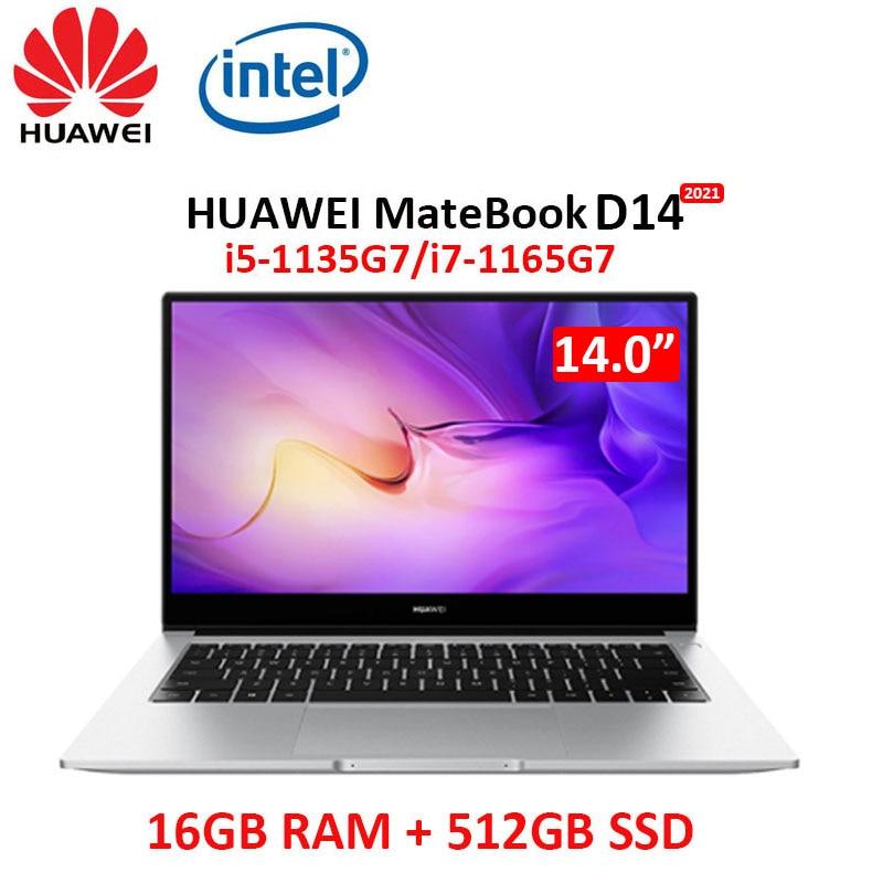 Get Huawei MateBook D 14 2021 laptop i7-1165G7 16GB RAM 512GB SSD 14-inch full-screen notebook computer Ultrabook