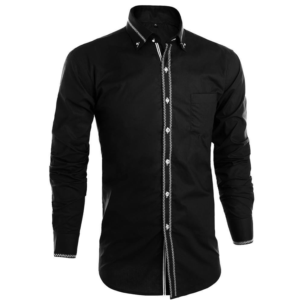 Dioufond Banquet Wedding Shirt Party Shirt Bar Nightclub Shirt Men Shirt Bright long Shirt Business Shirt Men Long sleeved Shirt