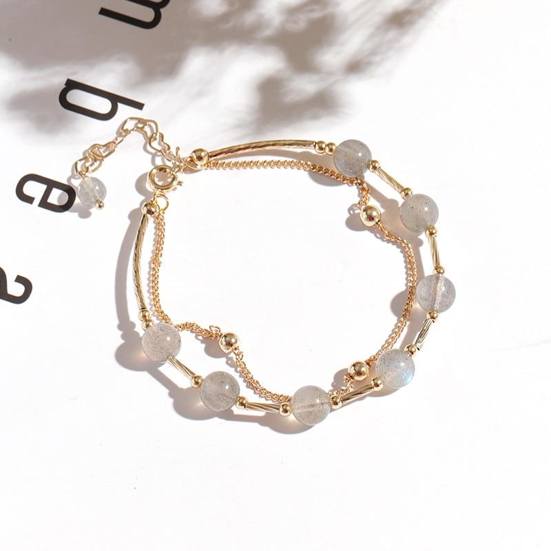 Pulsera de cristal INS diseño no convencional Corea del Sur elegante celebridad en línea versátil piedra lunar multicapa Simple mano fresca