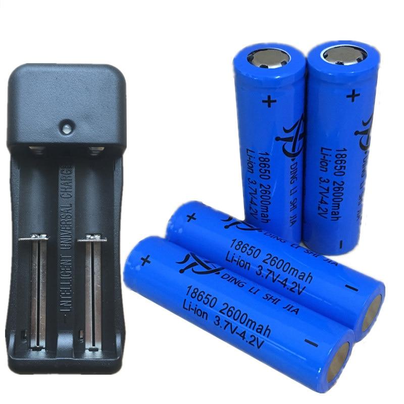 2 uds P 18650 batería 2600mAh Li-ion batería recargable 3,7 V linterna pilas de Linterna + Enchufe europeo 18650 cargador de batería Ajustable