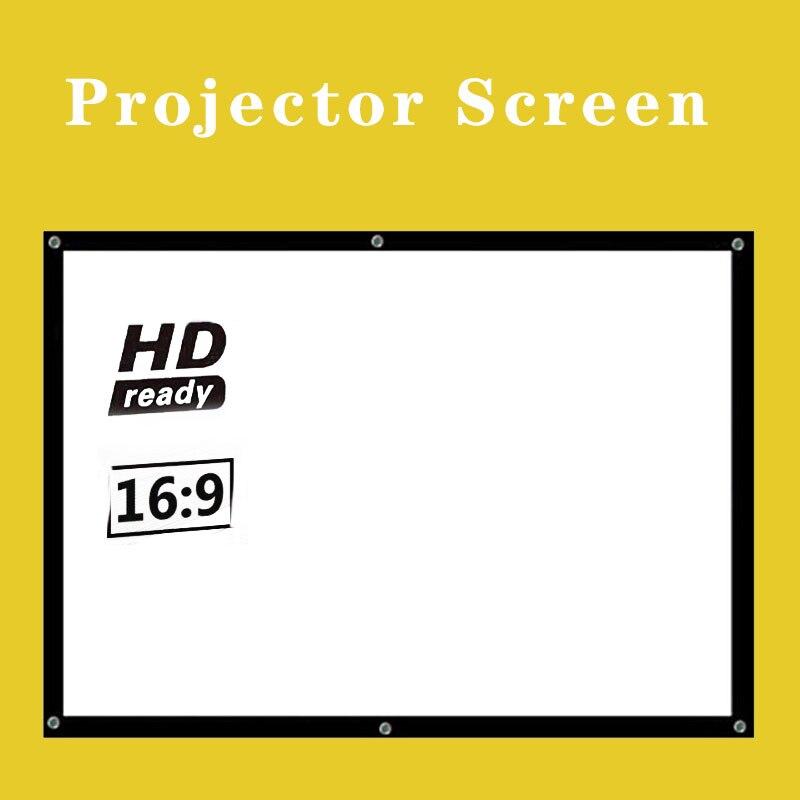 Proyector Simple cortina Anti-luz pantalla 60/72/84/100/120/150 pulgadas hogar exterior Oficina portátil 3d HD proyector pantalla