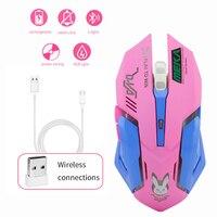 Чуи Беспроводной Мышь D.VA игровая мышь розовый милый оптический 3D компьютер Мышь 2400 Точек на дюйм цветная подсветка бесшумные Мыши портатив...
