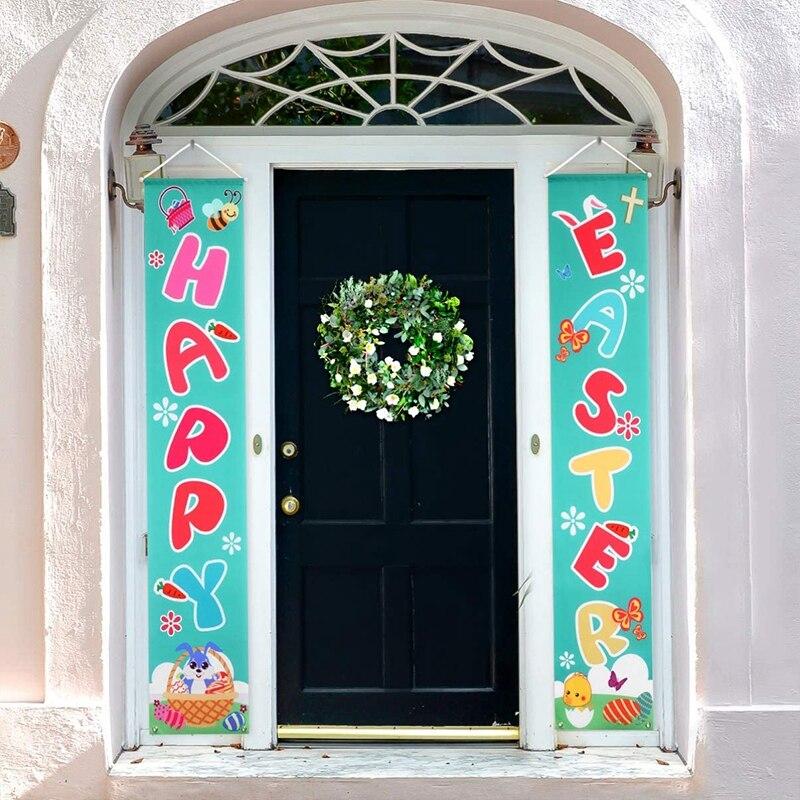 1 par 2 pçs feliz páscoa banner varanda porta decoração para casa ao ar livre festival decoração do feriado pendurado bandeiras suprimentos de festa de páscoa