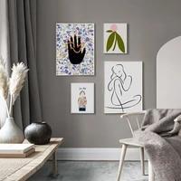 Toile de peinture decorative abstraite pour femmes  affiche murale  peinture dart  impression minimaliste  decoration nordique  photo  decoration de maison
