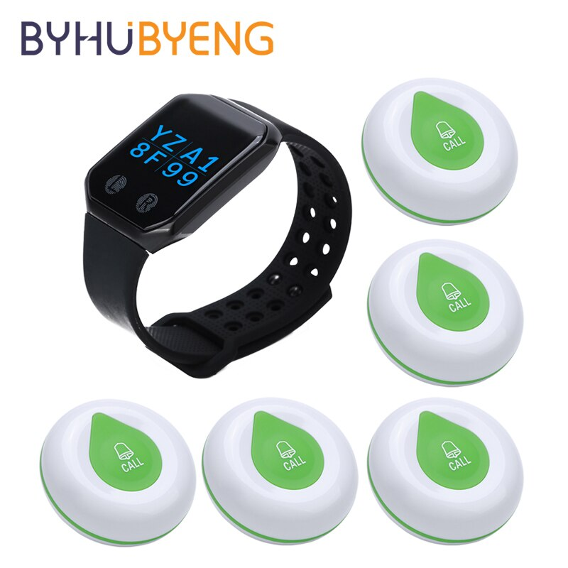 BYHUBYENG Restaurant Pager Wireless Waiter Calling System FM 433MHz Watch Receiver Call Button Transmitter Relogio Digital