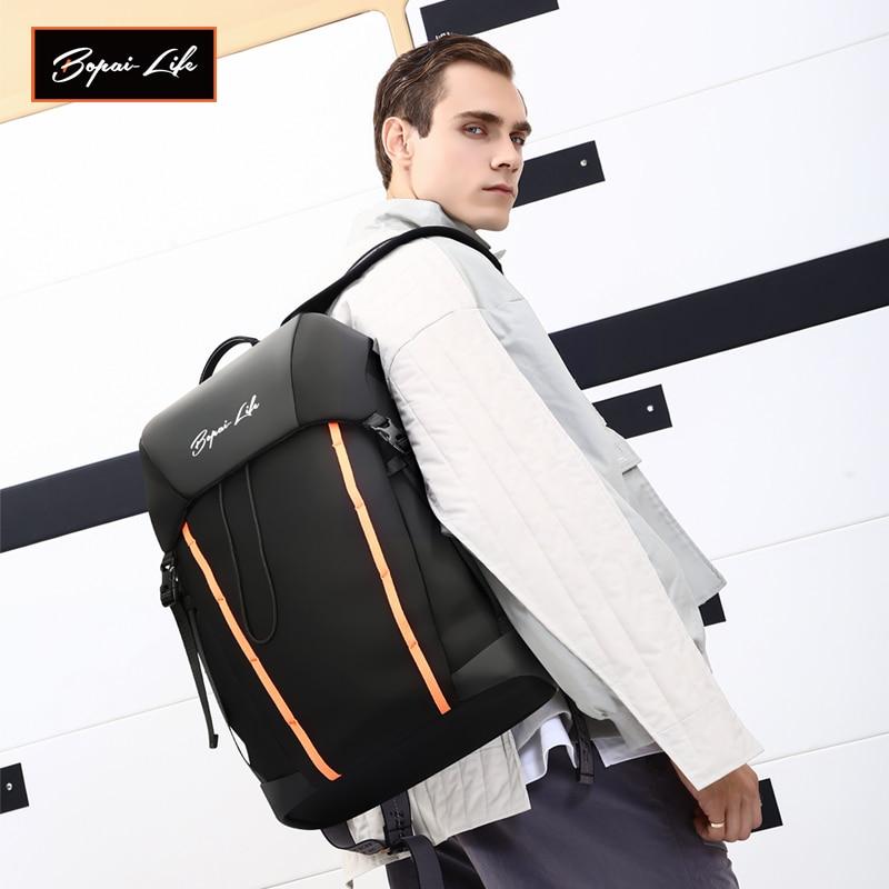 BOPAI LIFE-حقيبة ظهر للكمبيوتر المحمول مقاس 15.6 بوصة مع ضوء USB للرجال ، حقيبة ظهر للكمبيوتر المحمول ذات سعة كبيرة ، نمط غير رسمي ، حقيبة سفر