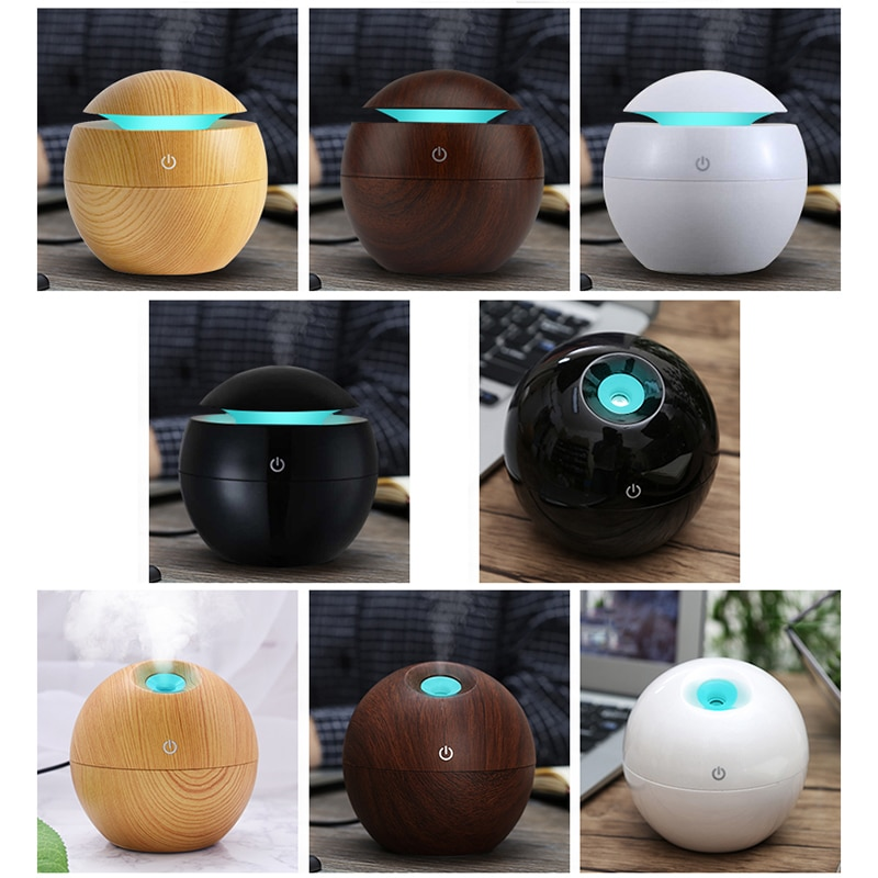 mini wooden aromatherapy humidifier aroma diffuser essential oil diffuser air purifier color changing led touch switch KBAYBO Mini Wooden Aromatherapy Humidifier Aroma Diffuser Essential Oil Diffuser Air Purifier Color Changing LED Touch Switch