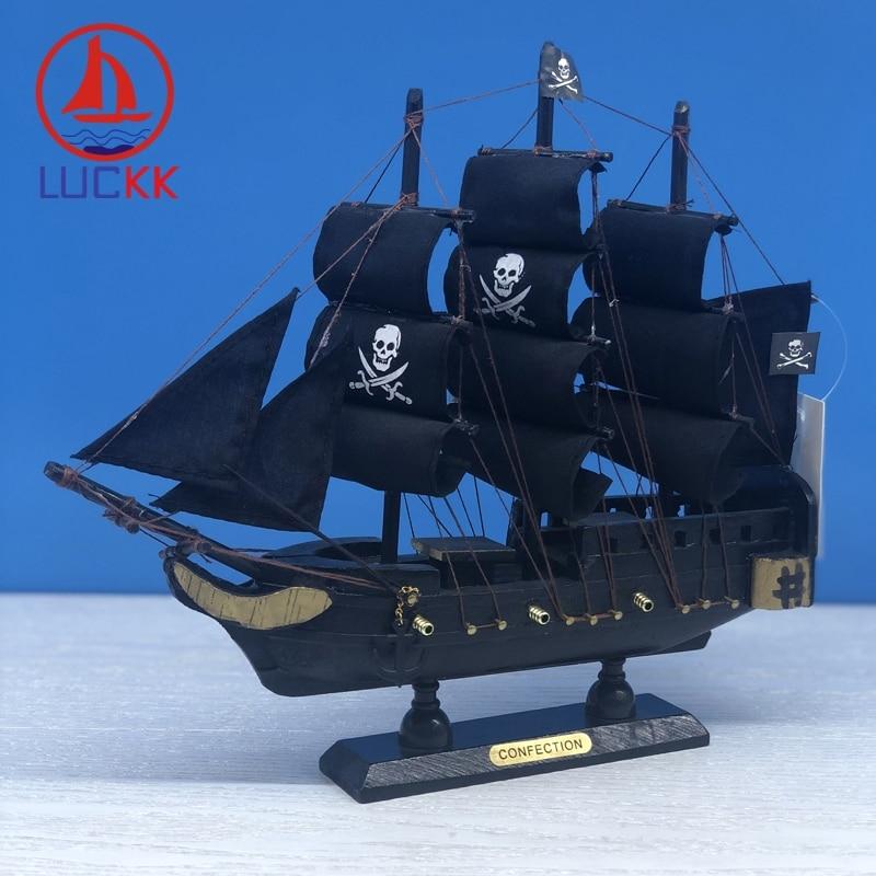 LUCKK 24 см Caribbean Black Pearl Пиратская деревянная Парусная модель морские предметы интерьера домашний декор Статуэтка корабля подарки