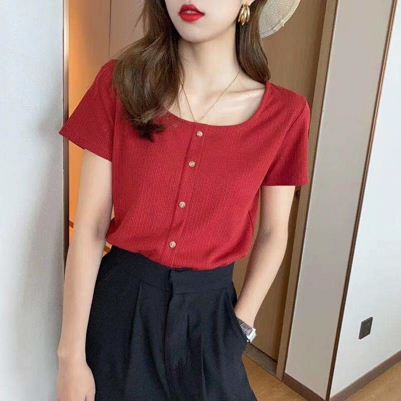 All-Matching Square Collar Single Breasted Slim-Fit Pure Knitted Tshirt Harajuku Summer Top Korean C
