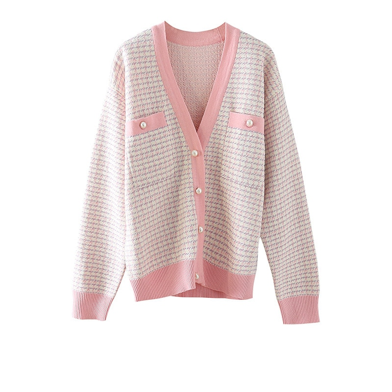 Cardigan Women 54% Viscose Blended Knitted Pockets V Neck Long Sleeves Patchwork Design Casual Style Loose Jacket New Fashion enlarge