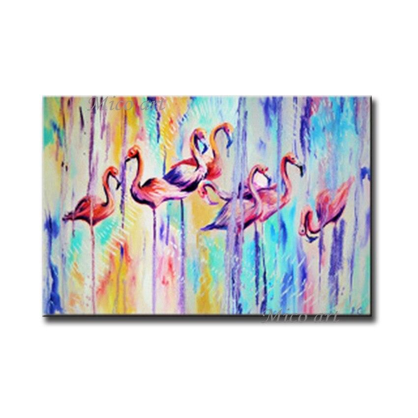 Pintura al óleo abstracta de flamenco sobre lienzo de sala de estar moderna, pintada a mano, de 100%