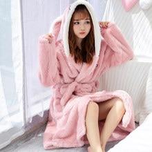 Vrouwen Winter Koraal Fluwelen Badjas Leuke Cartoon Warm Hooded Robe Dames Casual Konijn Flanel Kimono Badjassen Voor Vrouwen