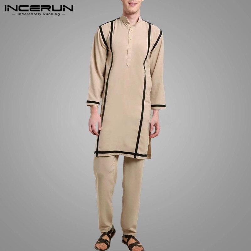 Conjunto de caftán informal de Color sólido para hombre, ropa de tela de retazos, Estilo Vintage musulmán, moda holgada, blusa con botones, pantalones elásticos, trajes para S-5XL