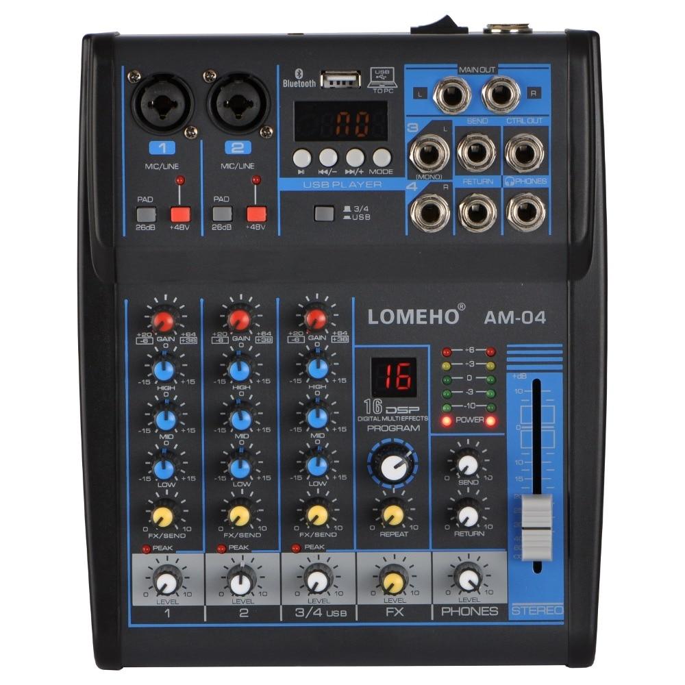 AM-04 2 مونو + 1 ستيريو 4 قنوات بلوتوث USB 48 فولت فانتوم المهنية DJ جهاز مزج الصوت