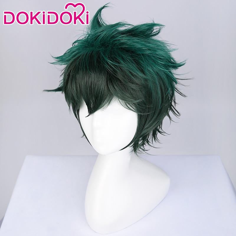 DokiDoki Peluca de Anime Cosplay mi héroe Academia Cosplay peluca Midoriya Peluca de Izuku Deku verde corta pelo Boku No Hero Academia