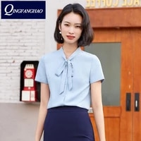 factory professional wear overalls wholesale blue shirt womens short sleeves 2021 summer new temperament bow system 8101