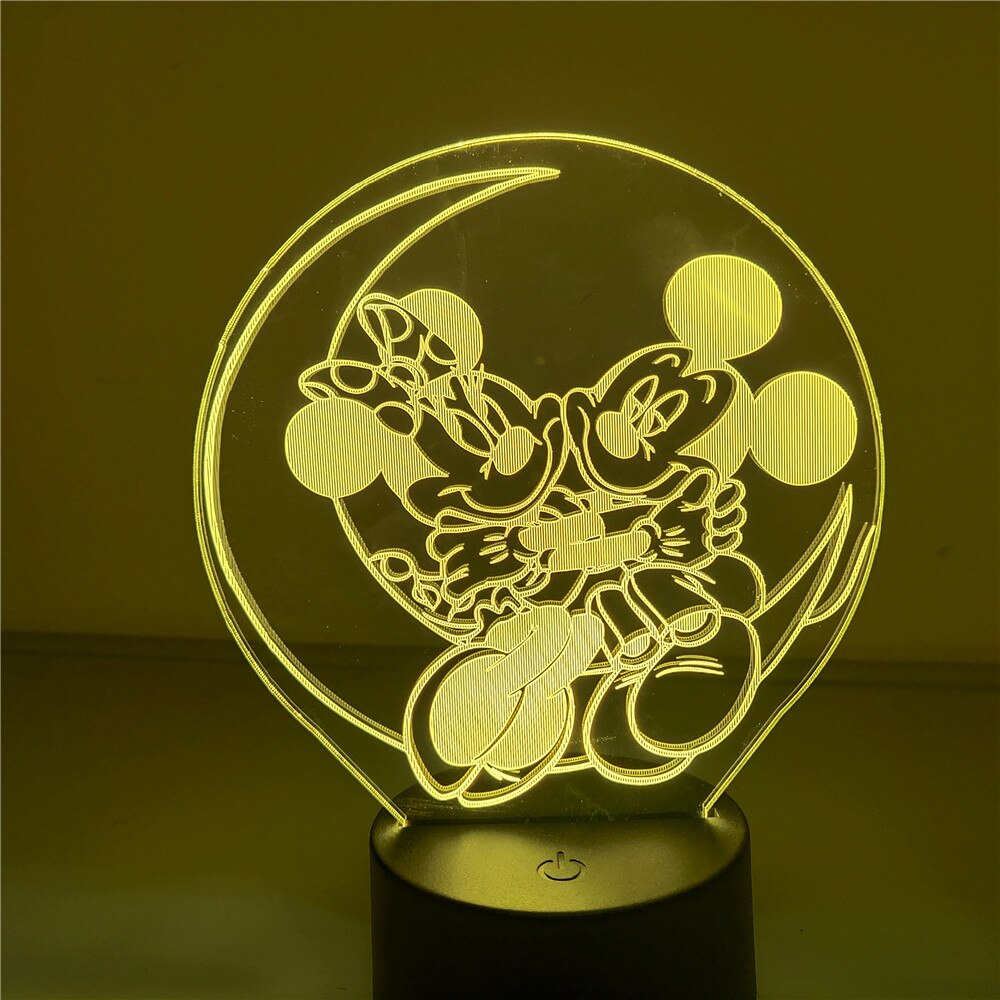 Disney led mickey minnie mouse 3d lâmpada figura dos desenhos animados anime ação estatueta brinquedos modelo boneca crianças quarto decoração figma
