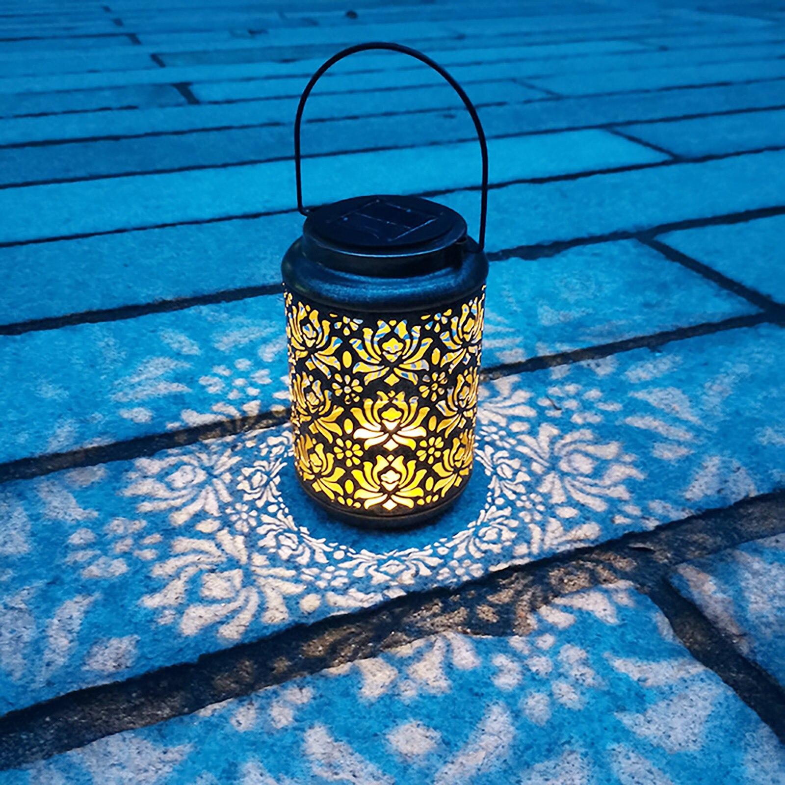 retro ferro solar led lanterna a prova dwaterproof agua oco pendurado peonia luz da noite