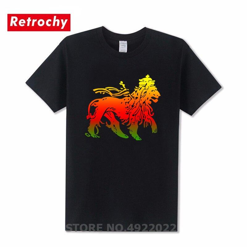 Футболка с изображением Льва Иуды растафари, флага регги, корней, футболка с фиопией Иуды, Мужская футболка с короткими рукавами, брендовая ...