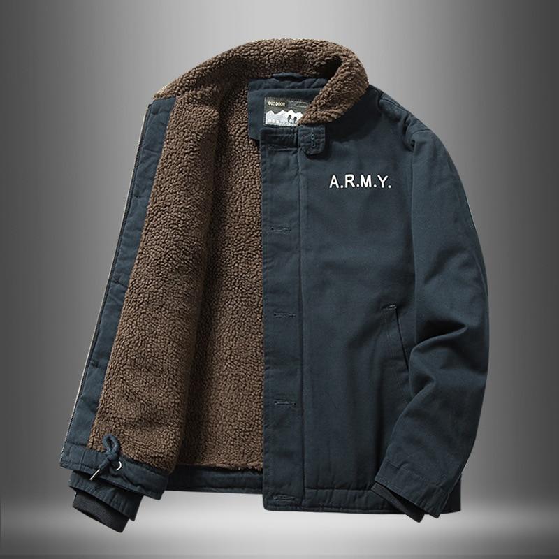 Jacket Men Imitated Lamb Fur Short Jacket Men Winter Thick Fur Collar Plus Fleece Tooling Bomber Jacket Cotton Jacket Clothes