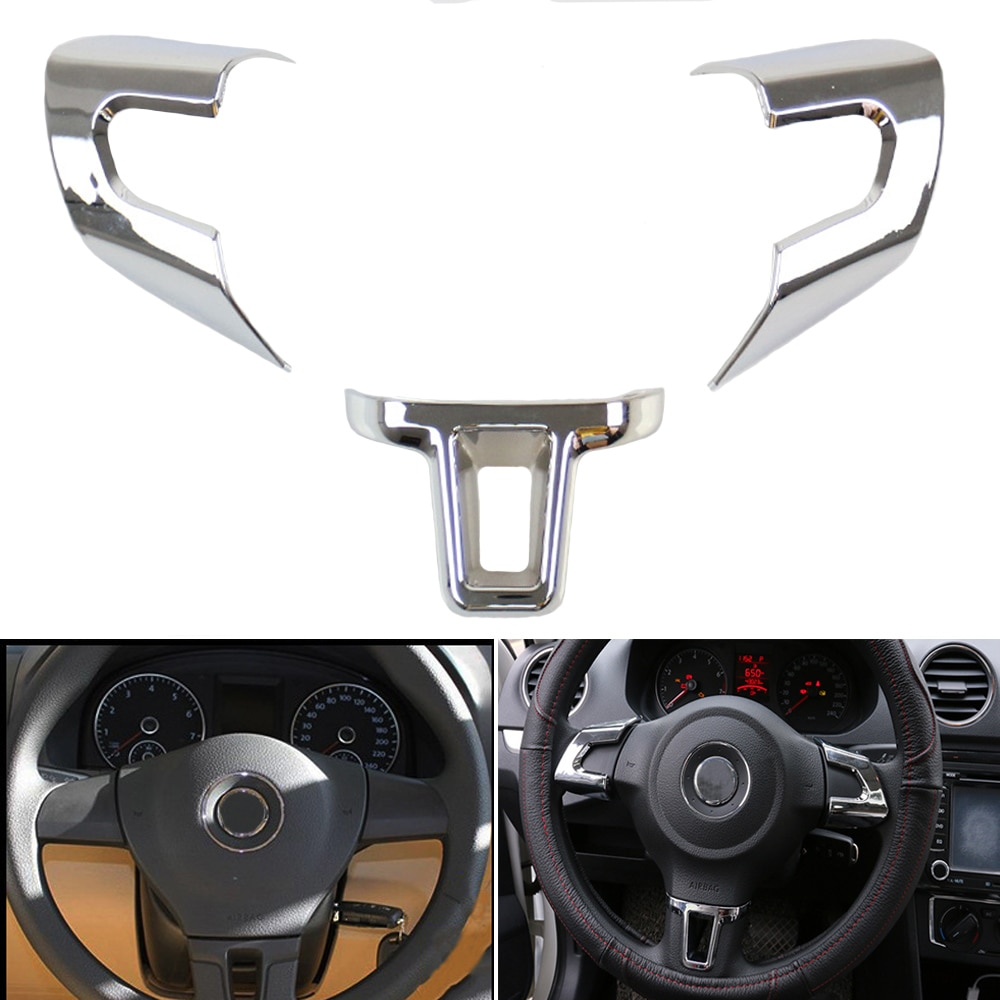 3pcs Car ABS Chrome steeling wheel cover sequins sticker trim Fit for Volkswagen Golf 6 MK6 Polo Jetta MK5 Sagitar Caddy 2009-15