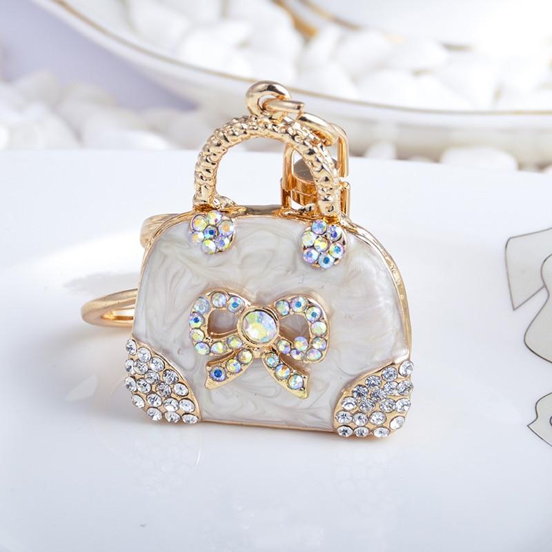 Exquisite Charm Fashion Bag Keychain Handbag Shaped Key Chains Cute Bow Crystal Rhinestone Car Keyring Pendant Female Gift
