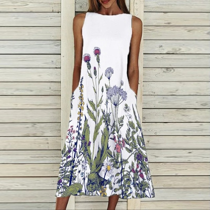 Dress retro print sleeveless summer women's casual pocket O-neck loose dress elegant female plus siz