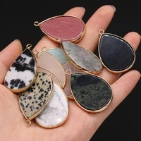 trendy natural stone pendants water drop gold plated turquoises jasper pendant for jewelry making diy women necklace earrings