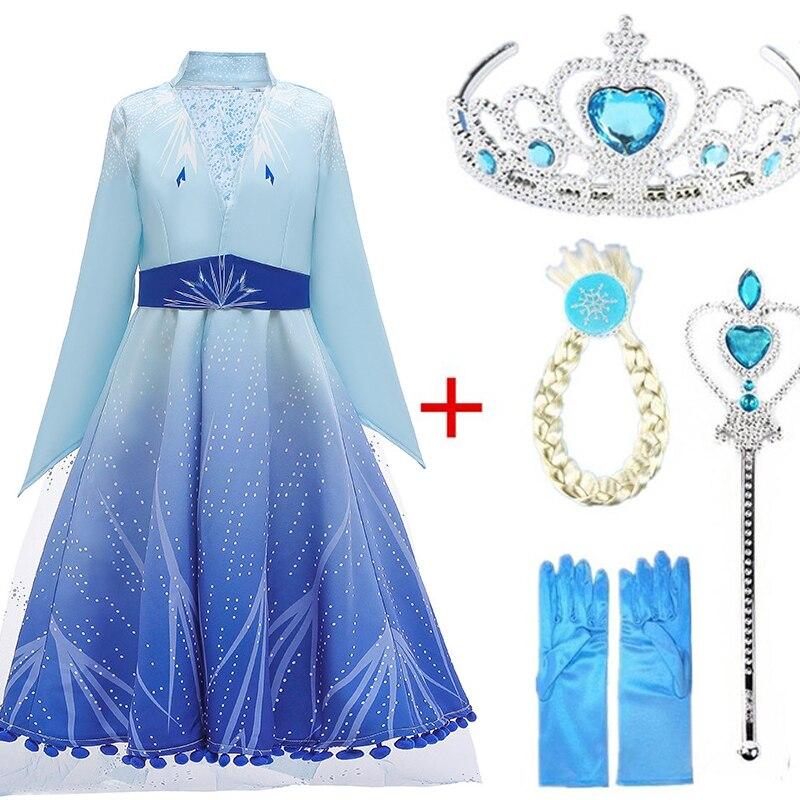 Elsa Dress 2 New Dress For Girls Princess Set Christmas Cosplay Anna Birthday Party Long Sleeve Elza Costume Kids Vestidos 2019