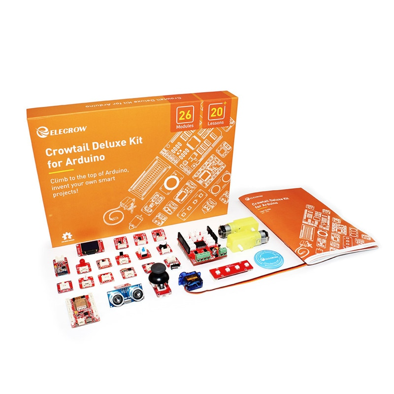 Elecrow DIY Programable Education Learning Kit Crowtail Deluxe Kit for Arduino with 20 Module Sensors for Educational Learners