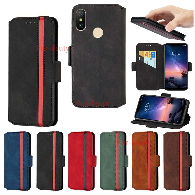Para xiaomi mi a2 lite casos moda à prova de choque telefone capa traseira para xiaomi mi a2 lite alta qualidade flip caso carteira de couro do plutônio