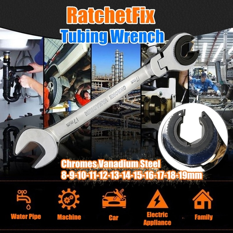 Newest RatchetFix Tubing Wrench Spanner 180° Movable Head 8MM-19MM Car Hand Maintain Repair Tools Dropshipping