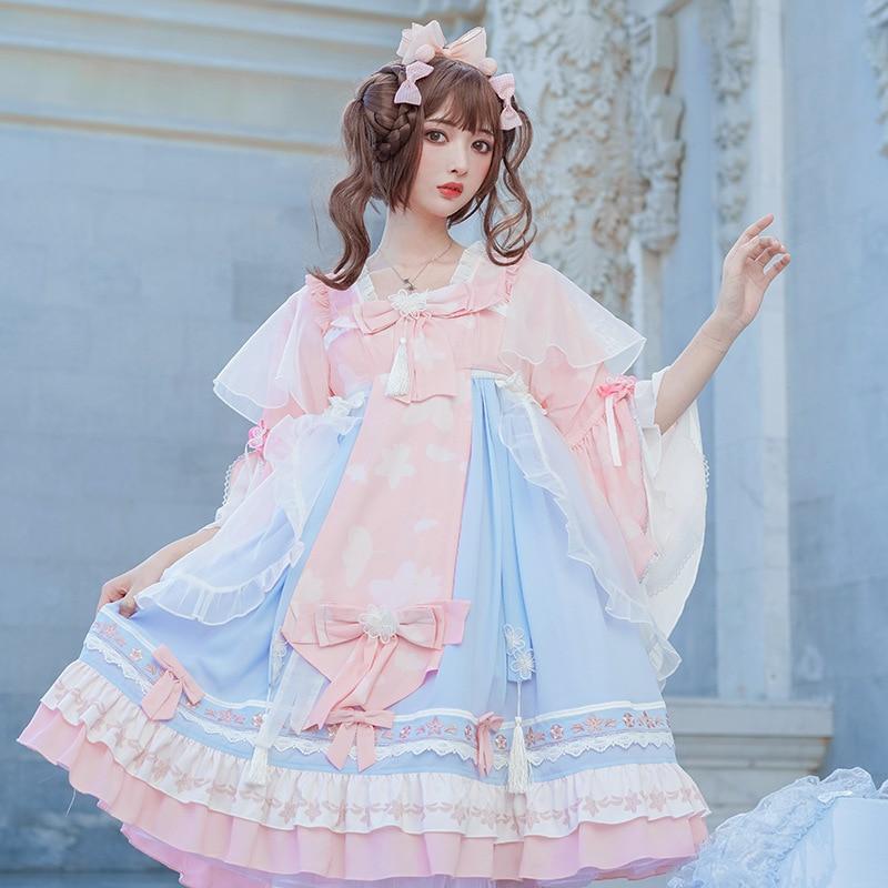 Новинка 2020, платье лолиты в китайском стиле с винтажным принтом, кружевное свободное элегантное милое платье средней длины для ролевых игр, ...