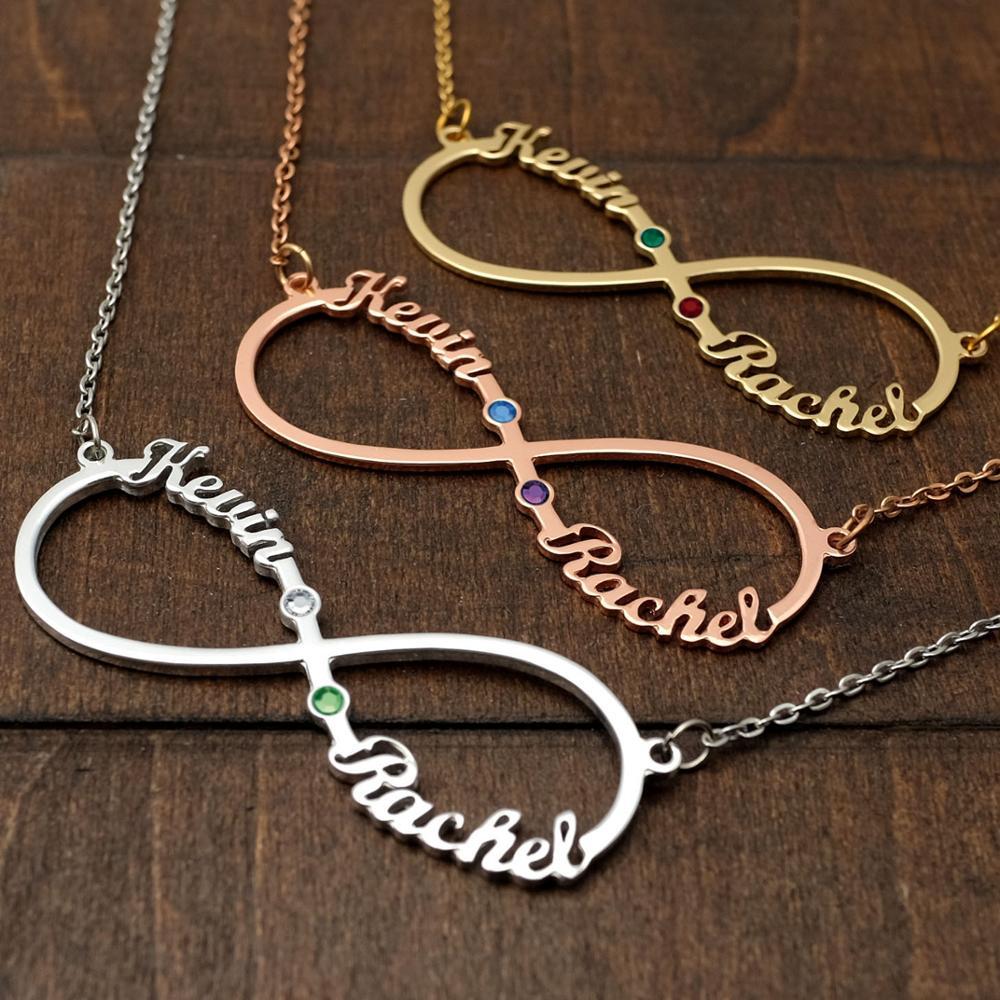 Индивидуальное ожерелье с именем знака бесконечности s кулон-табличка с именем, цепочка с именем на заказ, ожерелье с камнем по месяцу рожде...