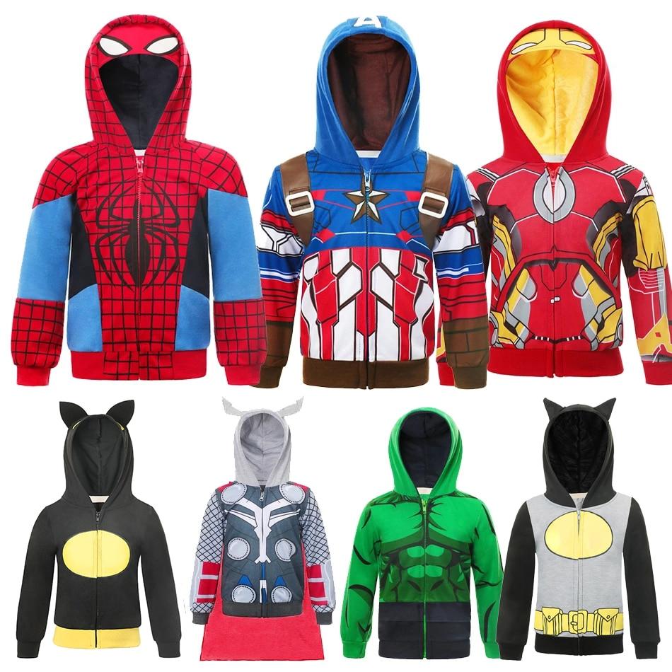 Marvel Superheroes Spiderman Boys Hoodies Christmas Iron Man Sweatshirt Kids Sportswear Captain America Halloween Tracksuits