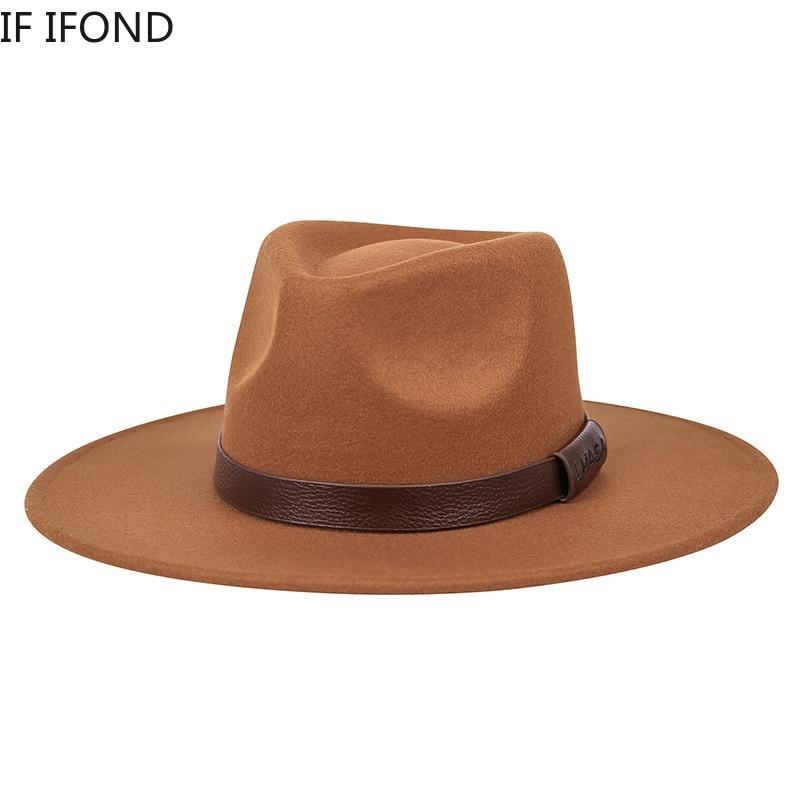 Classical Big Wide Brim Felt Fedora Hat Wool Black white Wool Church Jazz Hats Men Women Winter Vint